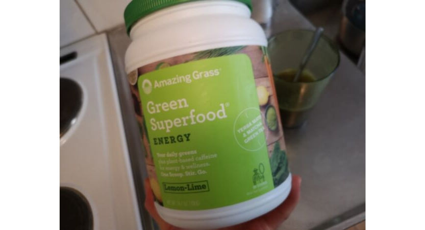 A bottle of amazing greens energy superfood.