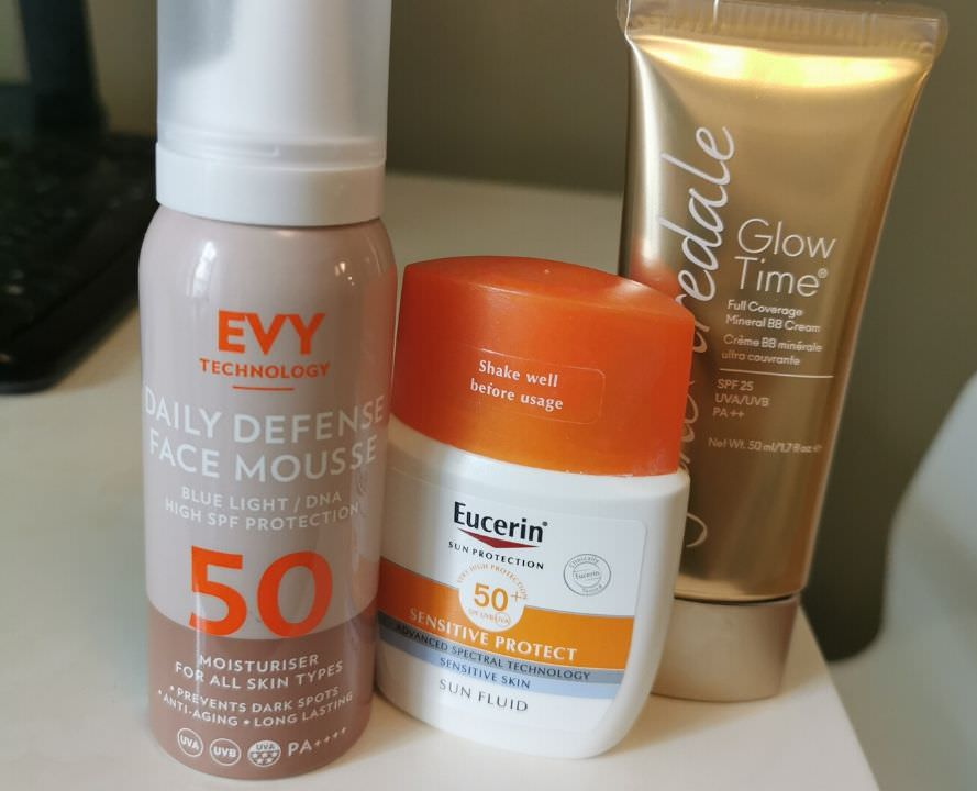 My three favorite anti-aging sunscreens. Evy sunscreen mousse spf 50, Eucerin Sensitive protect, Jane Iredale BB cream.