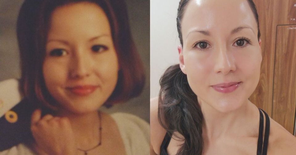 Me with hooded eyes at age 18 vs me at age 41.