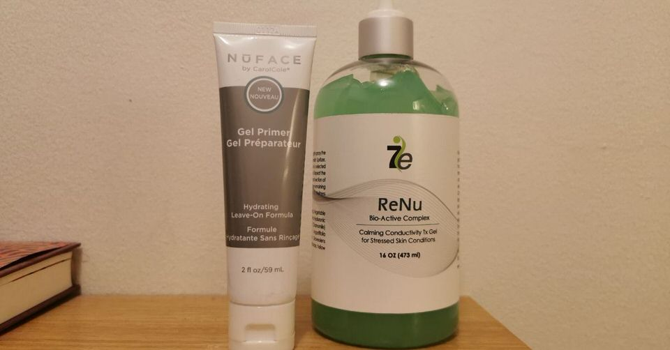 Nuface gel primer and 7e wellness Restore micorcurrent conductive gel